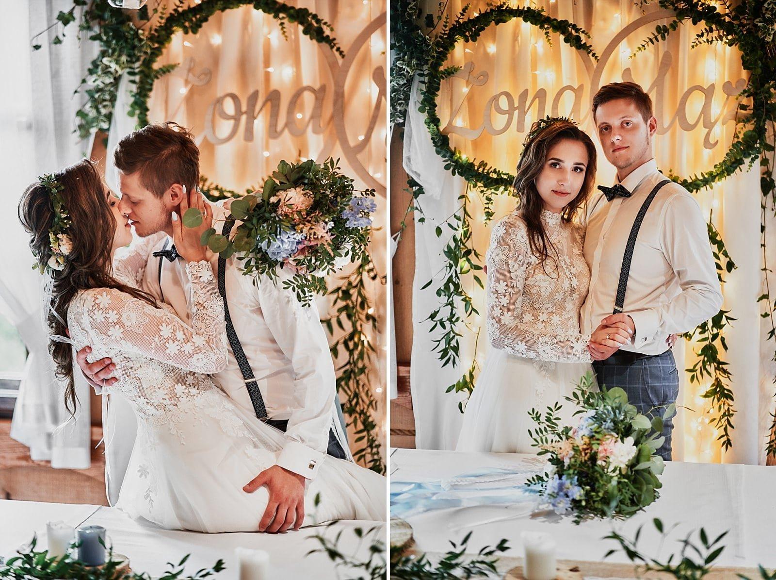 rustykalne ozdoby na stół pary młodej